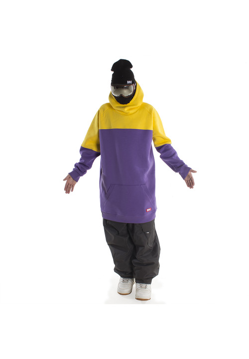 Long hoodie for snowboarding or skiing by NM4 (purple/yellow)