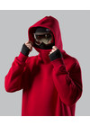 Oversized ski hoodie (sweat jacket, Sweatshirt) for snowboarding or skiing. Long tall. The model is RED